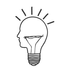 Monochrome silhouette of light bulb idea with vector