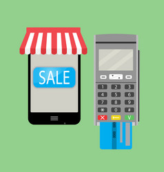 Online purchase with smartphone and credit card vector