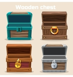 Opened antique wooden chest vector