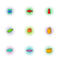 Packaging icons set pop-art style vector