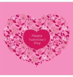Pink floral heart valentine card vector image