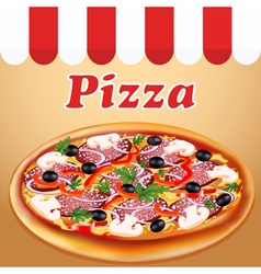 Poster fresh italian pizza with mushrooms and saus vector