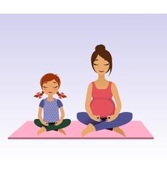 Pregnant women and little girl doing yoga vector