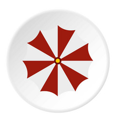 Red and white beach umbrella icon circle vector