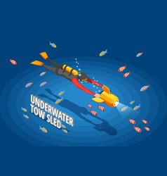 scuba diver background composition vector image