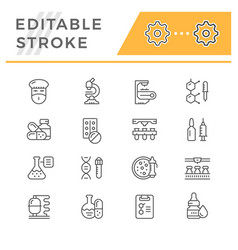 Set line icons of pharmaceutical industry vector