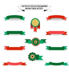 Set of elements on white background ribbons vector image