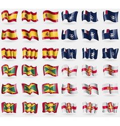 Spain french and antarctic grenada guernsey set of vector