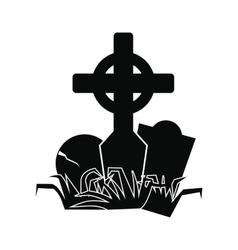 Tomb icon black vector