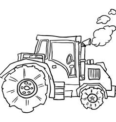 Tractor doodle vector