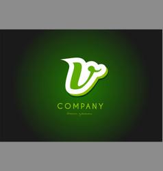 V alphabet letter logo green 3d company icon vector