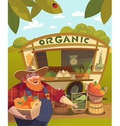 Vegetable stall outdoors vector