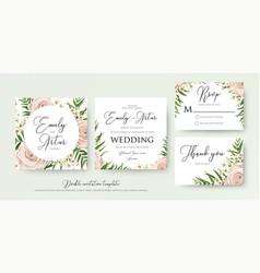 wedding floral watercolor style invite card design vector image