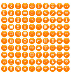 100 engineering icons set orange vector