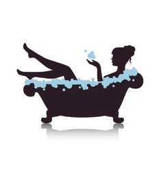 Woman in a bath with foam vector