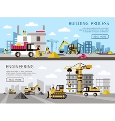 Construction colored banner set vector