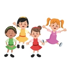 Group of happy girls cartoon kids vector