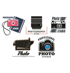 Icons set for photo studio school vector