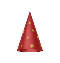 red sorcerer hat with golden stars vector image