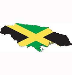Map of Jamaica with national flag vector image
