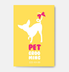 Poster template with dog silhouette pet grooming vector