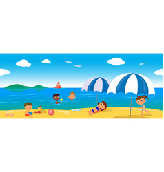 people on holiday at the sea seamless line vector image