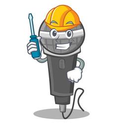 Automotive microphone cartoon character design vector