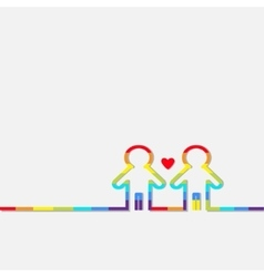 Gay marriage pride symbol two contour rainbow man vector