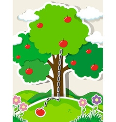 Apple falling from a tree vector