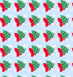 Seamless pattern with christmas tree and snowflake vector