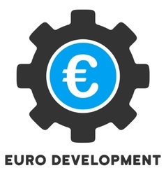 Euro development flat icon with caption vector