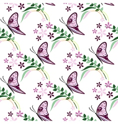 Pattern with violet butterflies flowers and branch vector