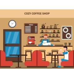 Coffee shop bar interior retro flat banner vector