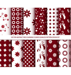 abstract red charming flower seamless pattern vector image vector image