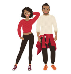 african couple in sport style clothes vector image vector image
