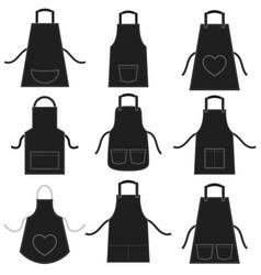 Black apron set isolated on white vector
