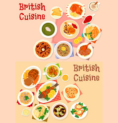 British cuisine icon set for restaurant design vector