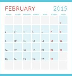 Calendar 2015 flat design template february week vector