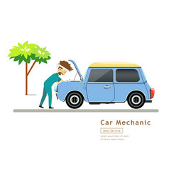 car mechanic workers in blue car service engine vector image vector image