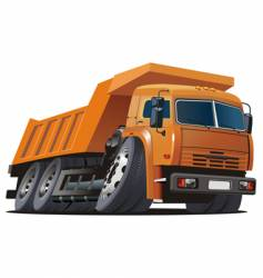 cartoon dump truck vector image vector image