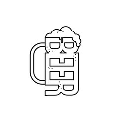 Cold glass of beer vector