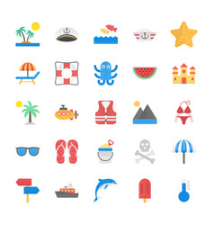 collection of sea life flat icons vector image