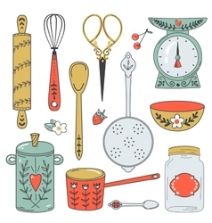 Colorful collection of baking items cute vector