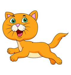 Cute cat cartoon running vector