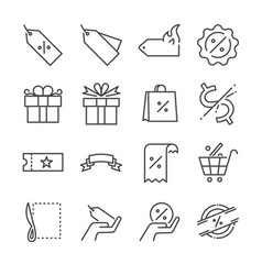 Discount and sale line icon set vector