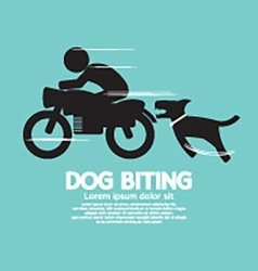 Dog biting a man on a motorcycle vector