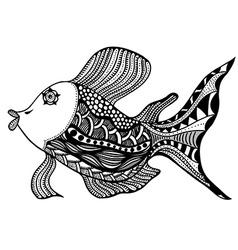 Fish in zentangle vector