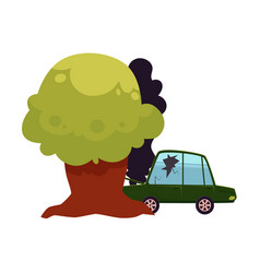 flat cartoon crashed into tree car accident vector image vector image