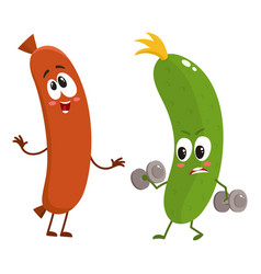 Funny food characters zuccini versus sausage vector