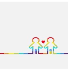 Gay marriage pride symbol two contour rainbow man vector